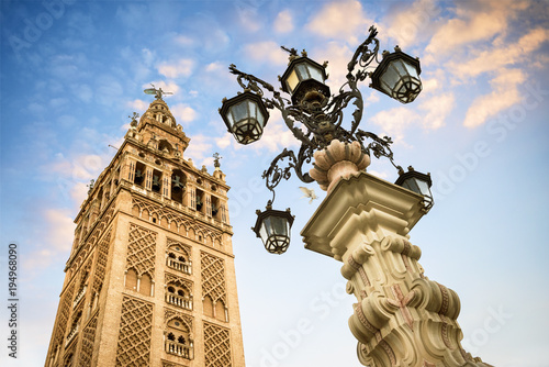 The Giralda, bell tower of the Cathedral of Seville in Seville, Andalusia, Spain