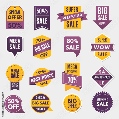 Fotografie, Obraz  Labels and tags with advertizing info for promotion and big sales