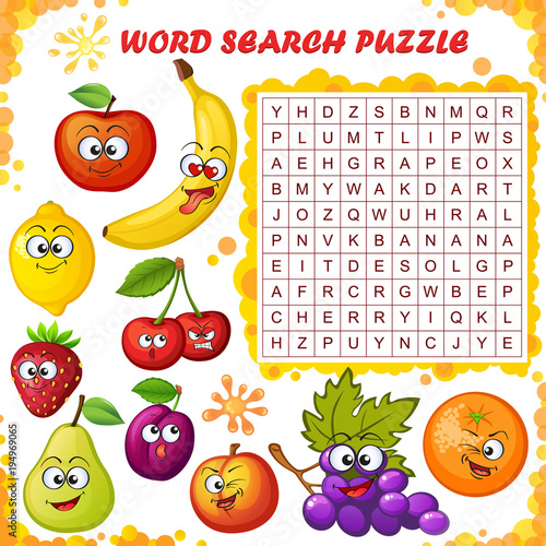 Word Search Puzzle Vector Education Game For Children Cartoon