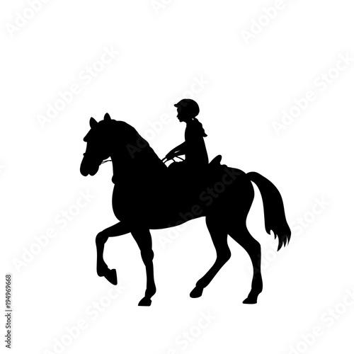 Silhouette girl rider horseback equitation Wallpaper Mural