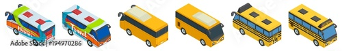 large selection of school tourist and city bus Fototapet