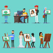 Illustration of various people painting and showing artworks on blue background.