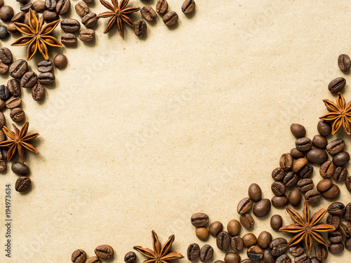 Papiers peints Café en grains Coffee on paper background with coffee beans and star anise, copy space, top view.