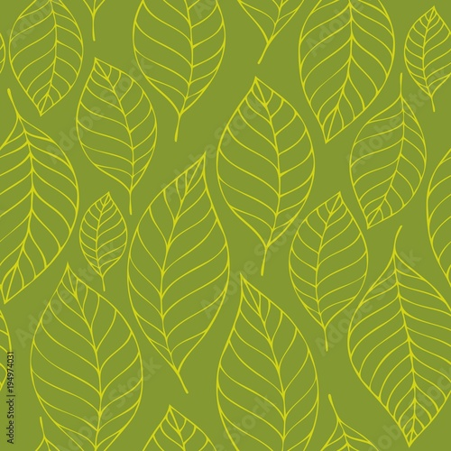 Foto op Canvas Kunstmatig Leafy seamless background 6