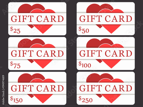 Poster  Gift cards with hearts