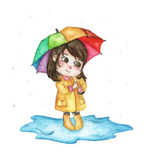 Cute Girl In Raincoat Hiding U...