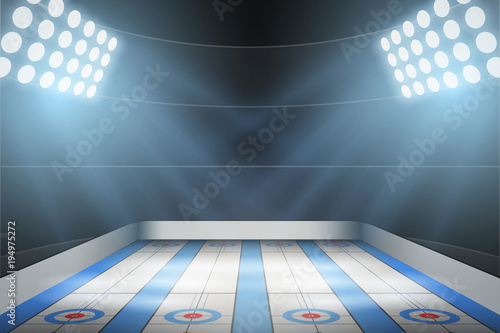 Foto Horizontal Background of curling ice arena in the spotlight