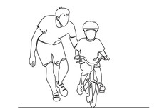 Dad Teaches A Child To Ride A ...