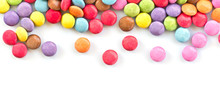 Panorama Of Colorful Candies  Isolated On White Background