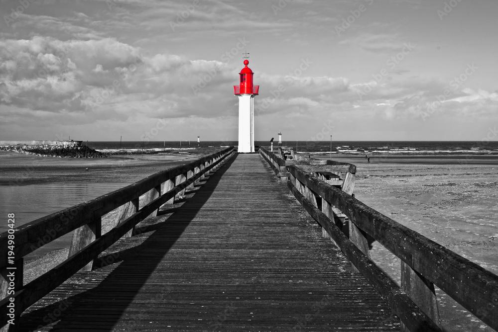 Fototapeta Trouville lighthouse, red selective color, Normandy, France