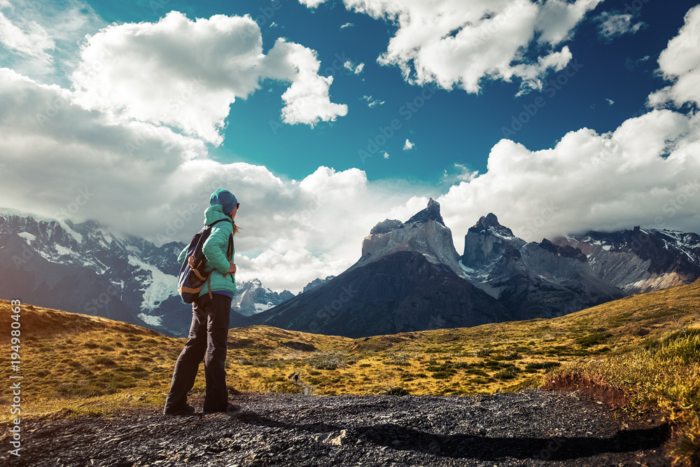 Fototapety, obrazy: Hiker on the trail in Torres del Paine National Park, Chile