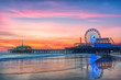 canvas print picture - The Santa Monica Pier at sunset, Los Angeles, California.