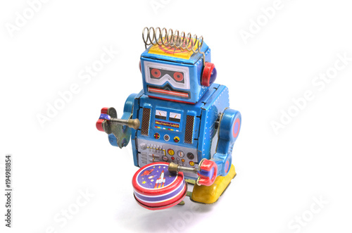 Photo  blue winding robot .
