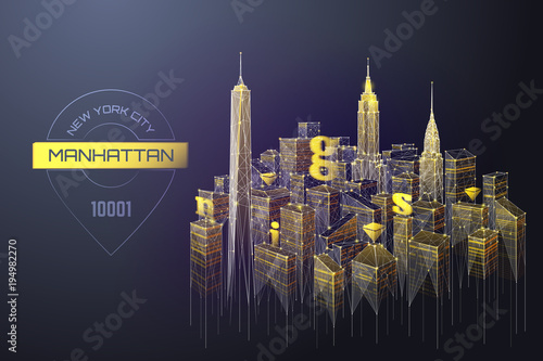 Abstract image of landscape of the Manhattan consisting of points, lines, and shapes in the form of planets, stars and the universe. Vector New York wireframe concept.