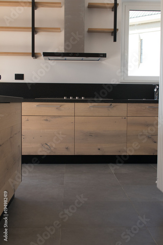 New Crafted Kitchen In Wood Stainless Steel And Black Granite Just