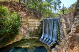Waterfall in Epta piges park at Rhodes island, Greece