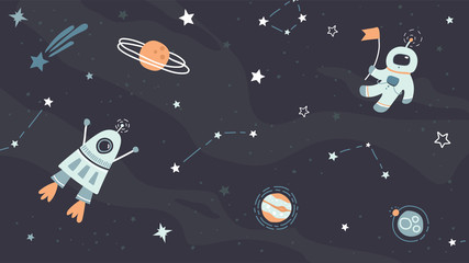 Vector childish hand drawn flat space design background. Cute template with elements of space, astronaut, spaceship, rocket, moon, black hole, stars, planets, constellations. Trendy kids wallpaper.