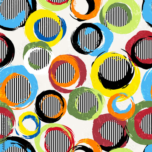 seamless background pattern, with circles, stripes, strokes and splashes