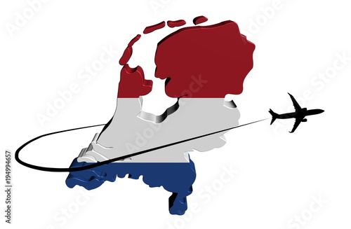 Canvas Print Netherlands map flag with plane silhouette and swoosh illustration