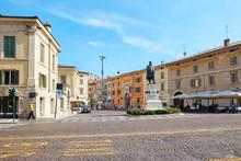 VERONA, ITALY - AUGUST 17, 2017: Verona Italy Statue Of Camillo Benso Count Of Cavour And Castelvecchio Castle.