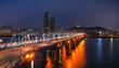 Seoul city at Dongjak Bridge Hangung river in Seoul , South Korea.
