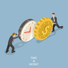 Time Is Money Flat Isometric V...