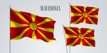 Macedonia Waving Flag Set Of Vector Illustration