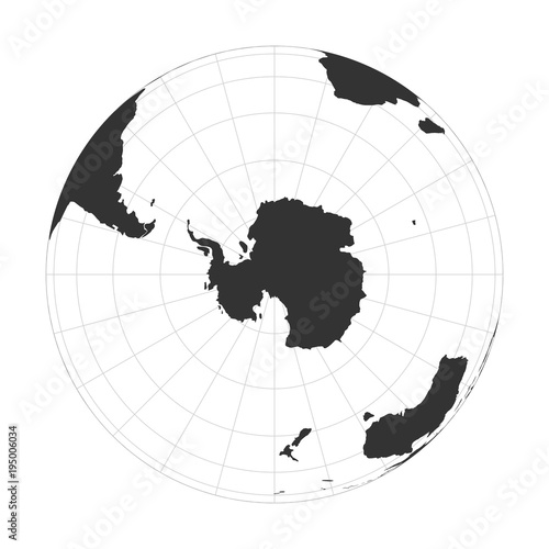 Canvas Print Vector Earth globe focused on Antarctica and South Pole.
