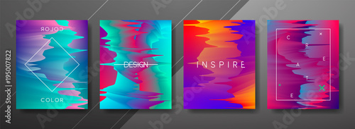 Abstract Fluid, lines and shapes creative templates, cards, color covers set. Geometric design, liquids, shapes. Trendy vector collection.