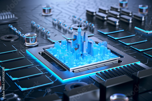 Fotografie, Tablou  3d illustration of futuristic micro chip city