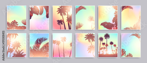 Obraz Colorful Summer banners, tropical backgrounds set with palms, sea, clouds, sky, beach. Beautiful Summer Time cards, posters, flyers, party invitations. Summertime, template collection. - fototapety do salonu