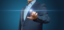 Businessman Pressing Button. Innovation Technology Internet Business Concept. Space For Text