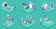 Set of object yoga and pilates, people are doing sports isometric 3D vector illustration