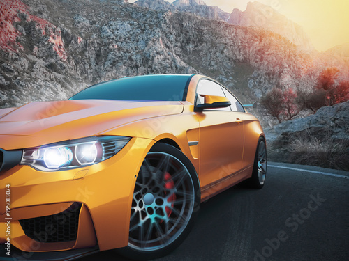 the-front-sports-cars-with-mountain-backdrop-with-the-morning-sun-3d-rendering-and-illustration