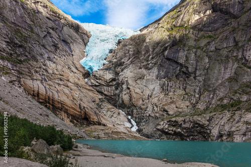Staande foto Gletsjers Briksdal glacier, Norway