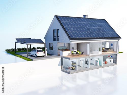 Foto Geschnittenes Haus Technik Solar Carport