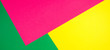 canvas print picture - Color papers geometry flat composition banner background with yellow, green, and pink tones