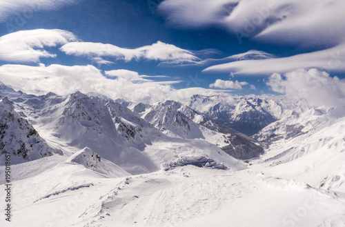 Aluminium Prints Dark grey Winter mountains panorama with ski slopes, Bareges, Pyrennees, France