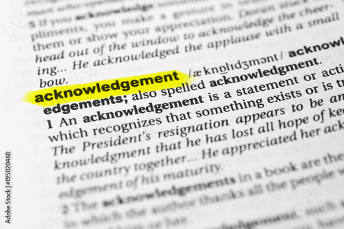Photo Highlighted English word acknowledgement and its definition in the dictionary