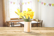 Easter table background and free space for your decoration.