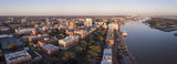 Fototapeta Sawanna - Aerial panorama of downtown Savannah, Georgia and River Street.