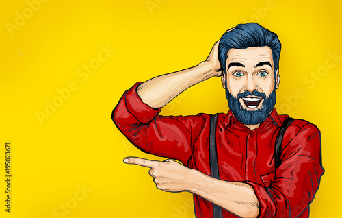 Man with shocked facial expression. Surprised Man in comic style. Man showing. Advertisement. Smiling man. Wow. shock, cool, work, 1960s, pop, art, retro, model, advice, young, kitsch, idea, sale, yes