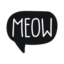 Meow. Vector Hand Drawn Letter...