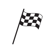 Finish Flag Symbol In Simple Vector Style Isolated On White
