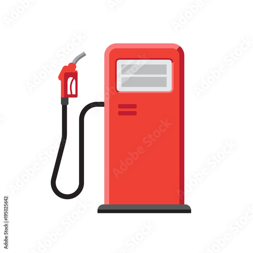 Fotografie, Tablou Vector illustration of red gas station with petrol pump