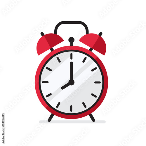 Photo Red Alarm Clock in flat style simple vector illustration isolated on white