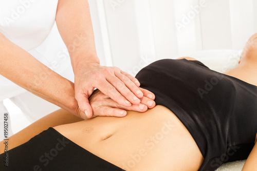 Dolor abdominal masajes Canvas Print