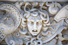 Stone Carved Panel Of The Head...