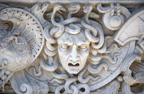 Stone Carved Panel of the Head of Medusa Canvas Print