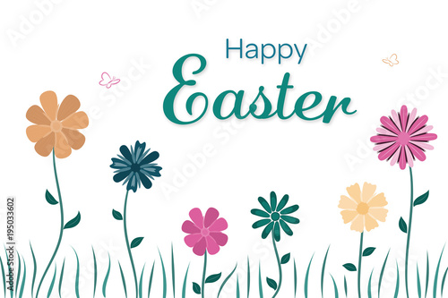 Poster Hibou Happy Easter. Field of flowers in trendy colors with text : Happy Easter